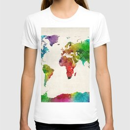 Watercolor Map of the World Map T-shirt