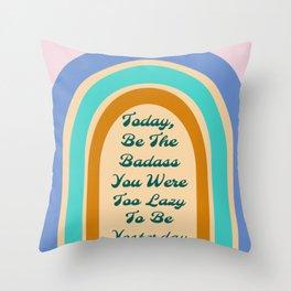 Retro Rainbow Badass Throw Pillow