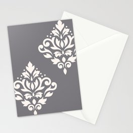 Scroll Damask Art I Cream on Grey Stationery Cards
