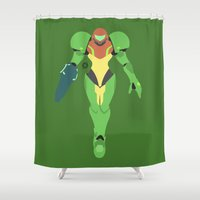 samus Shower Curtains featuring Samus(Smash)Green Suit by ejgomez