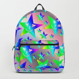 laughing, happy, stars, rainbow colors, pastel, friendly, pattern nursery textile Backpack