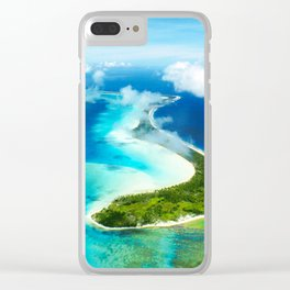 """French Polynesia's Secluded """"Secret Island"""": Aerial View Clear iPhone Case"""