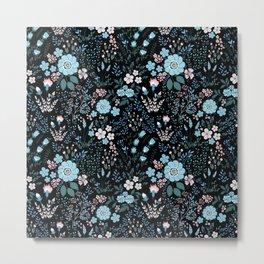 Star Sapphire Floral Celebration Blue on Black Metal Print