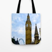 england Tote Bags featuring London, England by Heather Hartley