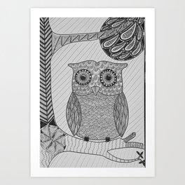 Owl in Tree Art Print