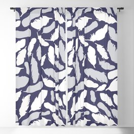 Feather Pattern Blue Blackout Curtain