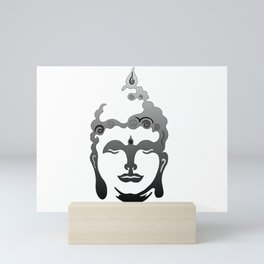 Buddha Head grey black white background Mini Art Print