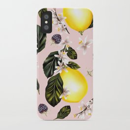 Citrus paradise. Tropical pattern with lemons iPhone Case