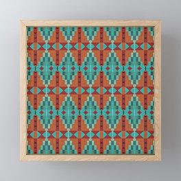 Orange Red Aqua Turquoise Teal Native Mosaic Pattern Framed Mini Art Print