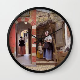 "Pieter de Hooch ""The Courtyard of a House in Delft"" Wall Clock"