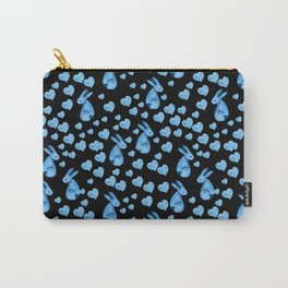 Blue rabbits and hearts Carry-All Pouch