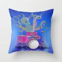 drums Throw Pillows featuring Octopus Playing Drums - Blue by Ornaart