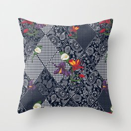 Seamless background lace, paisley and pied-de-poule, houndstooth design Throw Pillow