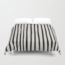 Vertical Black and White Watercolor Stripes Duvet Cover
