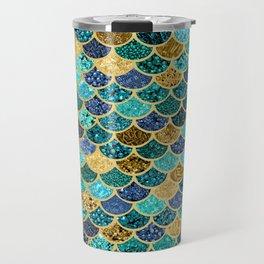 Glitter Blues, Greens, and Gold Mermaid Scales Pattern Travel Mug