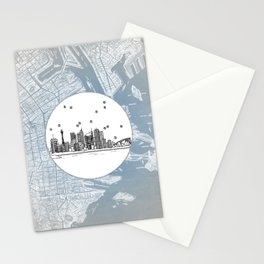Sydney, New South Wales, Australia City Skyline Illustration Drawing Stationery Cards