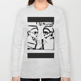Sketched Fashion19 White on Black Long Sleeve T-shirt