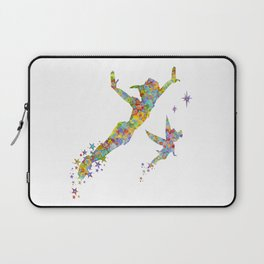 Peter Pan and Tinker Bell Watercolor Laptop Sleeve