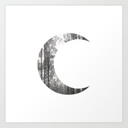 White Forest Crescent Moon Art Print