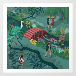 Ukiyo-e tale: The beginning of the trip Art Print