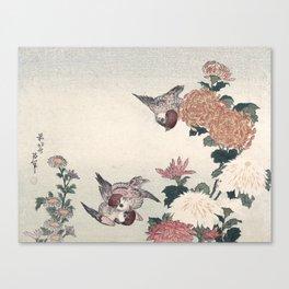 Katsushika Hokusai - Sparrows and Chrysanthemums Canvas Print