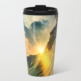 Beach - Waves - Sunset - Clouds - Sundown Travel Mug