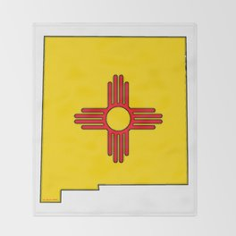 New Mexico Map with State Flag Throw Blanket