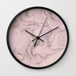 Pastel Pink Gold Faux Glitter Marble Wall Clock