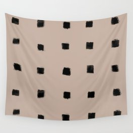 Polka Strokes Gapped - Black on Nude Wall Tapestry