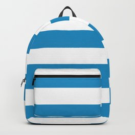 Cyan cornflower blue - solid color - white stripes pattern Backpack