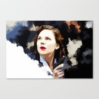 peggy carter Canvas Prints featuring Peggy Carter by Ms. Givens