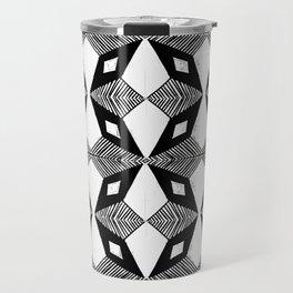 Linocut printmaking pattern black and white scandinavian scandi hipster cute geometric art Travel Mug