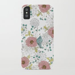 Blue Bird and Peonies iPhone Case