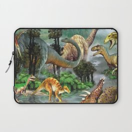 Jurassic dinosaurs drink in the river Laptop Sleeve
