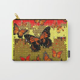 Abstracted Black & Orange Monarch Butterflies Red Carry-All Pouch