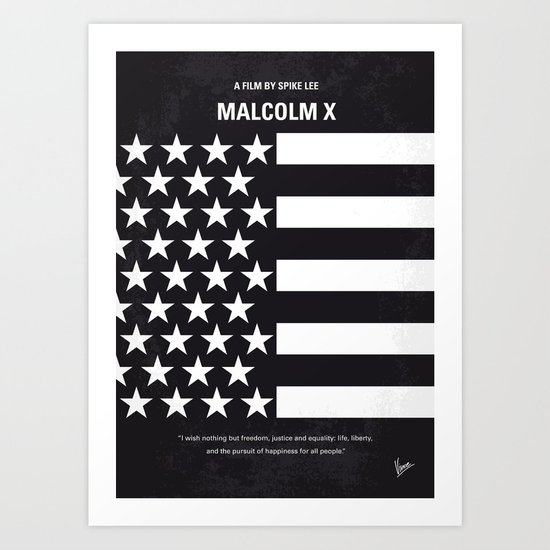 No250 My MALCOLM X minimal movie poster Art Print