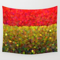 gold glitter Wall Tapestries featuring Sparkle Glitter Red Gold by Saundra Myles