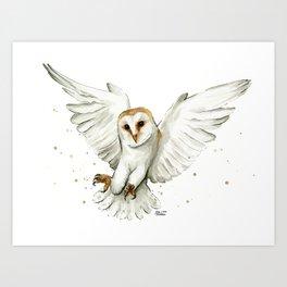 Barn Owl Flying Watercolor   Wildlife Animals Art Print