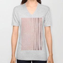 Rose Gold Pastel Pink Vertical Stripes Unisex V-Neck