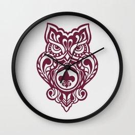 Fleur De Lis Owl Wall Clock