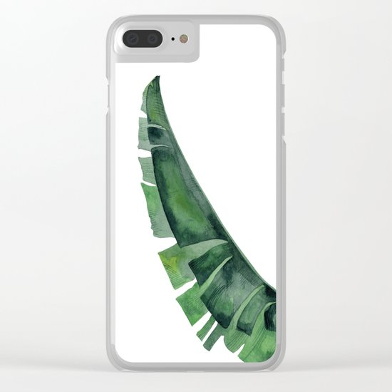 Tropical Leaf Green Clear iPhone Case