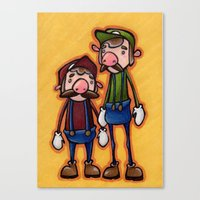 mario bros Canvas Prints featuring Super Mario Bros. by epicdinosaurs