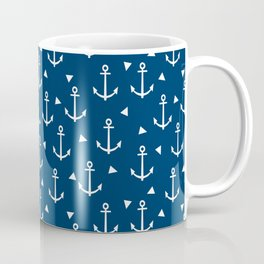 Anchors and triangles minimal navy and white trendy sailing pattern sailor print Coffee Mug