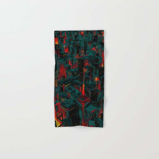 Night city glow cartoon Hand & Bath Towel