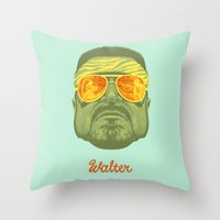 lebowski Throw Pillows featuring The Lebowski Series: Walter by Bubblegun