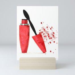 Red mascara fashion watercolor illustration Mini Art Print