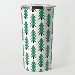 Christmas Tree forest holiday minimal decor festive winter trees green and white Travel Mug