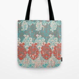 floral paisley in vermillion and teal Tote Bag