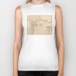 Vintage Map of Burlington Vermont (1873) Biker Tank