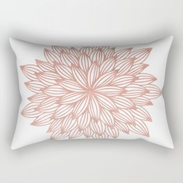 Mandala Flowery Rose Gold on White Rectangular Pillow